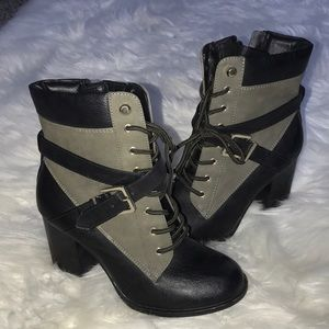 Black and Green Combat Boot Size 7 (EUC)